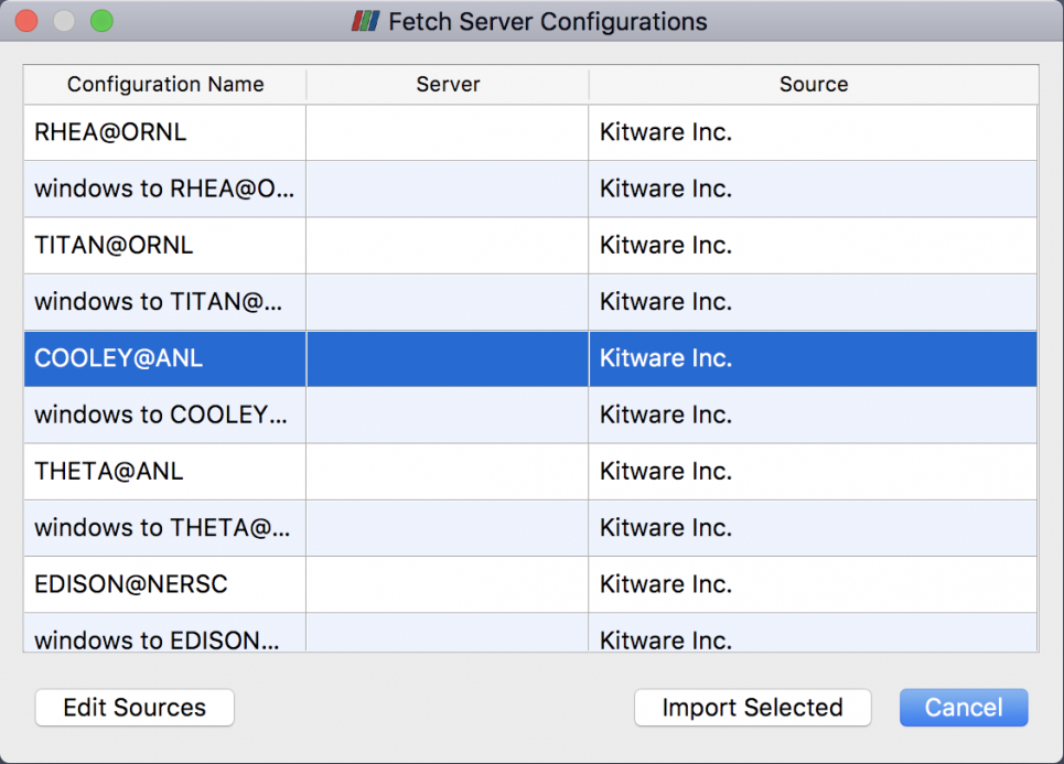 Fetch server configuration Cooley