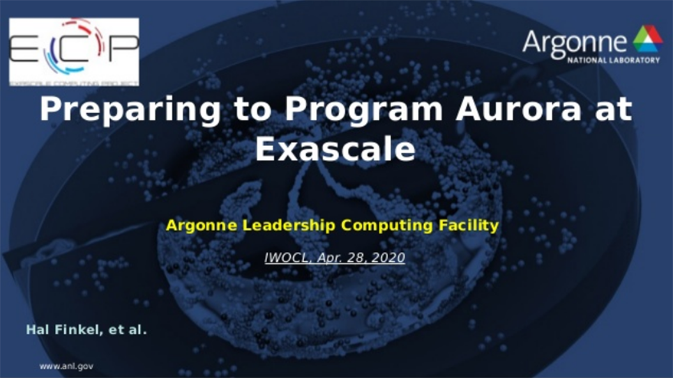 Finkel: Preparing to program Aurora at Exascale – Early experiences and future directions